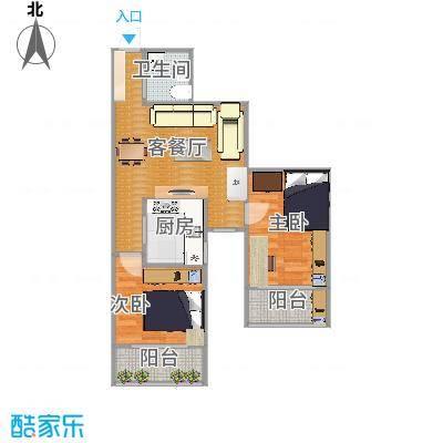都市馨园的73方两室一厅户型图