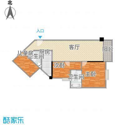 百德大厦04户型三房两厅方案3