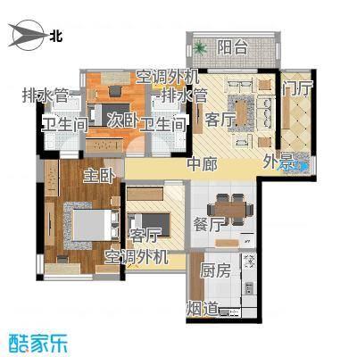 初步户型3室1厅2卫1厨