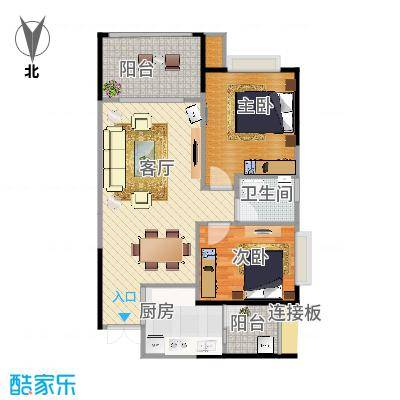 攀华国际广场Z5、Z6(4、5号房)户型两室两厅