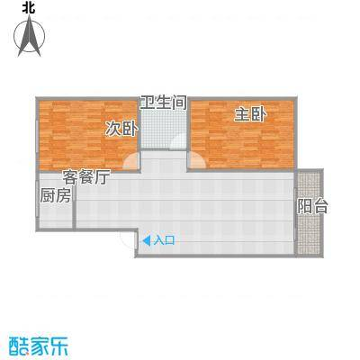 新华园91方B2户型两室两厅