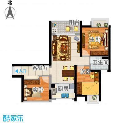 201、204栋1单元05户型89㎡三房两厅