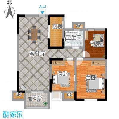 顺天花苑93.19㎡三房两厅一卫 93.19平米户型3室2厅1卫