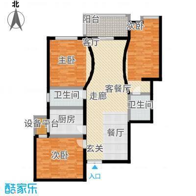 玺萌鹏苑127.36㎡三居室户型