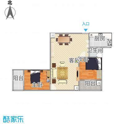 裕华嘉苑三期501楼3门C-02户型91平两室两厅