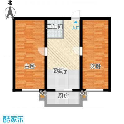 富景华庭59.00㎡二室一厅一卫户型2室1厅1卫
