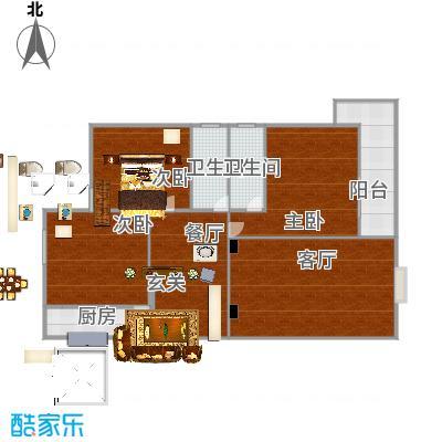 园丁小区高层130方A1户型三室两厅