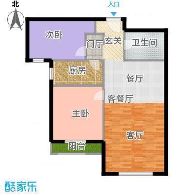 K2・玉兰湾90.00㎡8号楼B3户型2室1厅1卫1厨