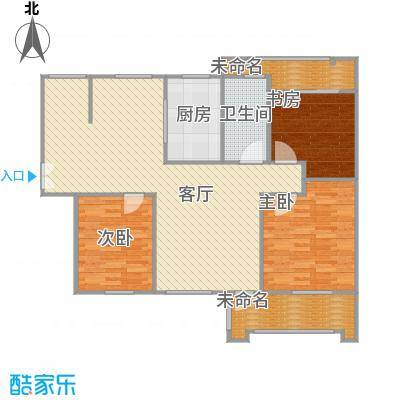 130平三室两厅一厨一卫B户型