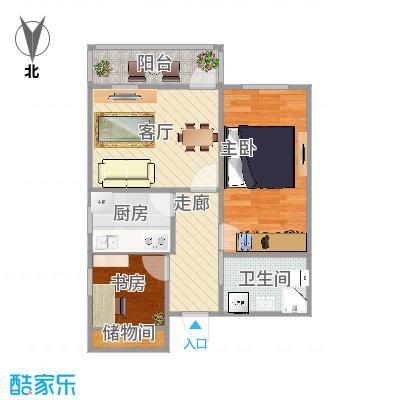 龙翔路小区63方两室一厅的户型图