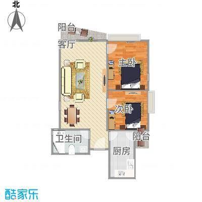 富力东堤湾C1栋83方户型两室一厅