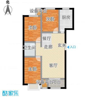 金港花园109.21㎡E1户型3室2厅1卫阳台改玻璃