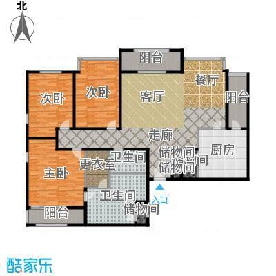 光彩国际公寓218.00㎡三室两厅两卫户型