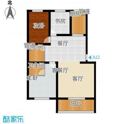 尚城花墅120.57㎡K户型2单元5号楼三室两厅一卫户型3室2厅1卫