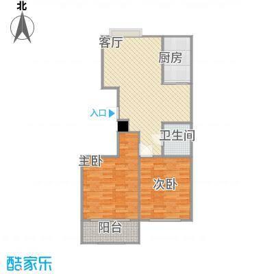 山花泰和府二期F户型2室1厅1卫1厨