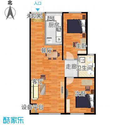 海航YOHO湾87.32㎡E户型两室两厅一卫87.32平米户型图户型2室2厅1卫