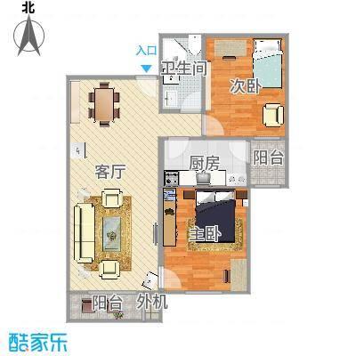 90.5方B反户型两室两厅一卫