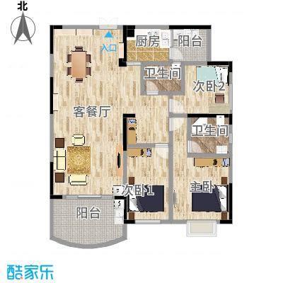 百合苑7号02房户型结构修改后平面布局图