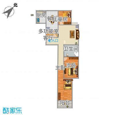 百家新城131方D户型三室两厅两卫