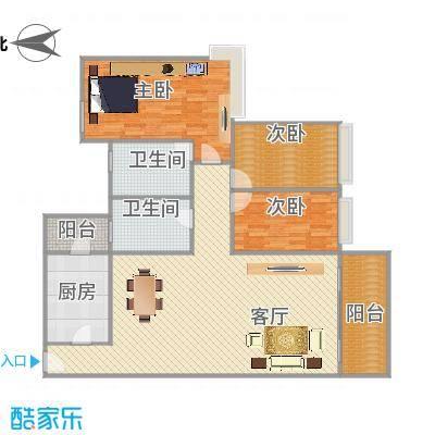 雅居乐熹玥126平方3房户型