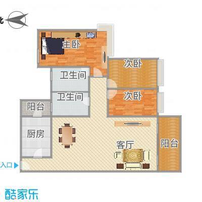 雅居乐熹玥99.7平方2房户型