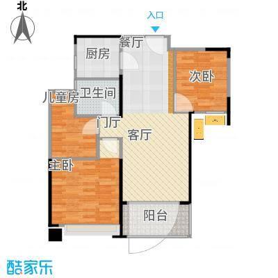 绿地玫瑰城的户型图90方三室二厅