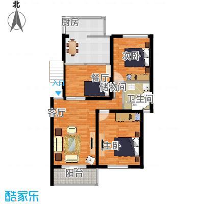 兰桂坊102方两房两厅的户型图