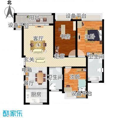 蓝天小区130.00㎡H户型标准层户型3室2厅2卫 - 副本