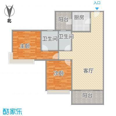 雅居乐熹玥99平方两房户型