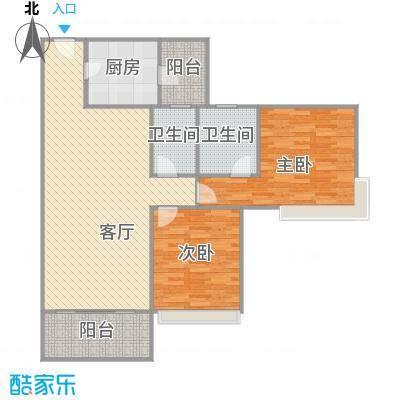 雅居乐熹玥2房99.7平的户型图
