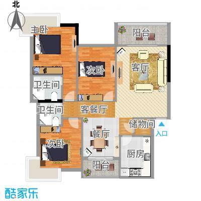 滨河苑B1户型3室1厅2卫1厨 - 副本