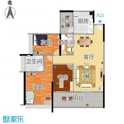 佰利山110方A3户型三室两厅