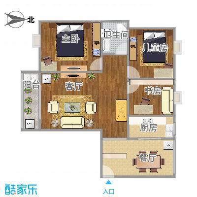 曼哈顿103方A4户型三室两厅