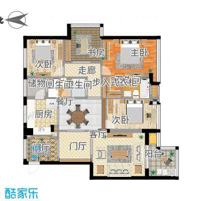 天閤家園130平户型三室两厅方案四
