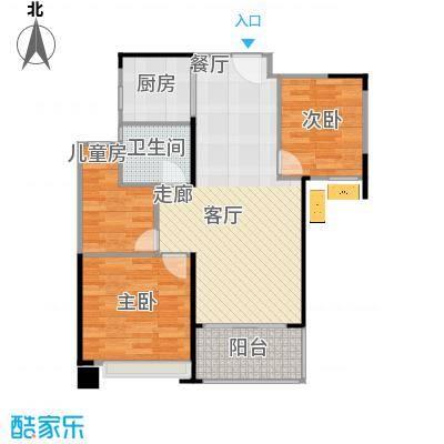 绿地玫瑰城的户型图90方三室二厅 - 副本