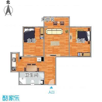 左右卧室中间客厅小户型两居室