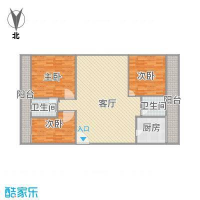 桂香苑84.6方A1户型三室两厅
