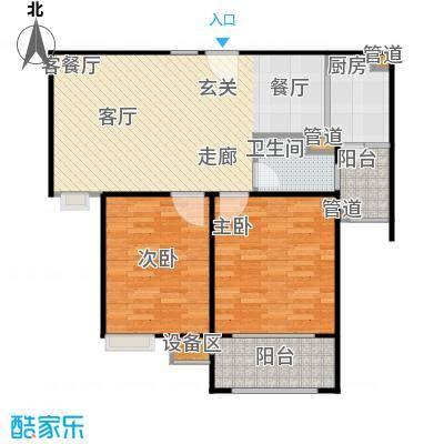 富顿街区12号B型全南两房,面积89平方左右户型 - 副本