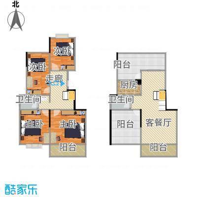 159平E2户型楼中楼四房两厅两卫