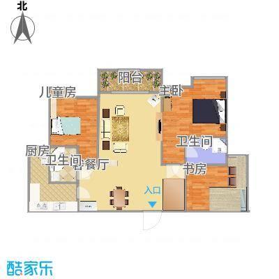 天伊阁137方02户型三室两厅