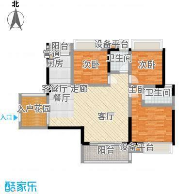 锦盛恒富得121.00㎡3/4栋户型图户型3室2厅2卫 - 副本