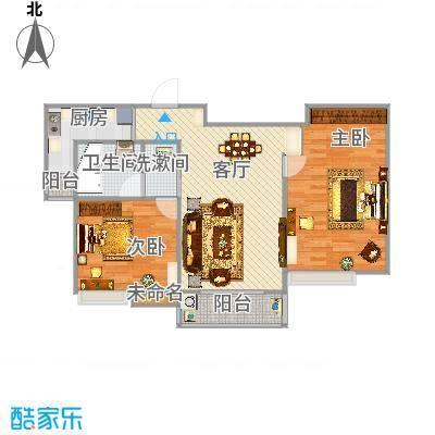 国泰润园104方B户型两室两厅