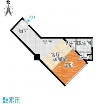 逸景湾54.70㎡1号楼54平米1室户型1室1厅1卫-副本