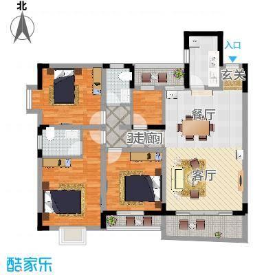 宏华花苑126.76㎡A、B栋面积12676m户型-副本