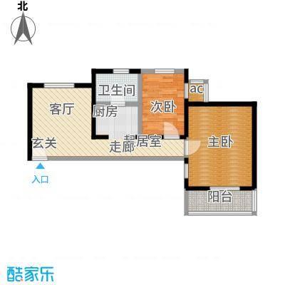 资尚财富公寓(龙城花园三期)65.64㎡二室一厅一卫户型-副本