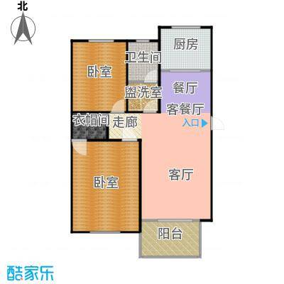 东辰清风港107.00㎡A户型2室2厅1卫-副本