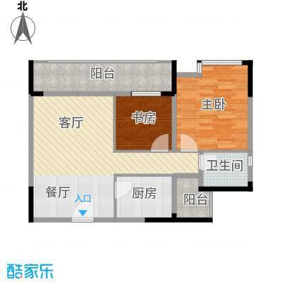 天怡碧桂苑62.40㎡一期1、2号楼标准层户型2室1厅1卫1厨-副本