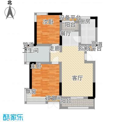 卓达三溪塘4.67㎡B1户型2室2厅1卫1厨