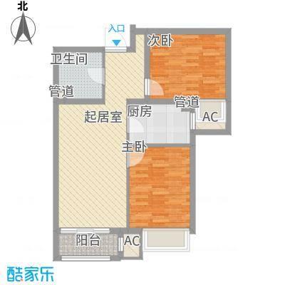 涿州玫瑰园87.30㎡E-2户型2室2厅1卫1厨