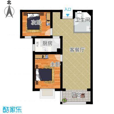 香榭家园87.00㎡图为B2户型2室1厅1卫1厨 - 副本